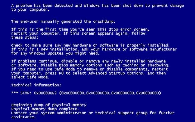 Blue screen of death (bsod).