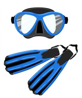 白い背景のwebサイトのページとモバイルアプリの青いスキューバマスクとシュノーケルダイビング足ひれダイビング機器図