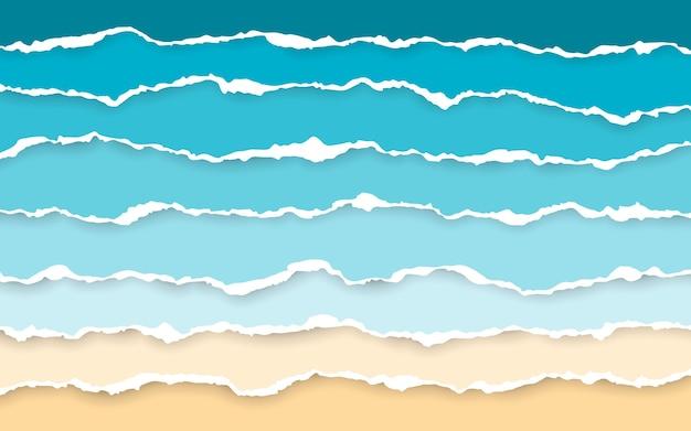 푸른 바다와 해변 찢어진 된 종이 줄무늬. 사각형 수평 종이 스트립을 찢었습니다.