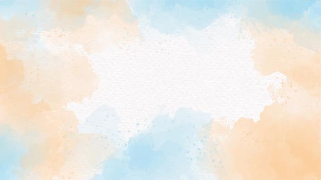 흰 종이 추상적 인 배경에 푸른 바다와 모래 베이지 색 수채화 시작
