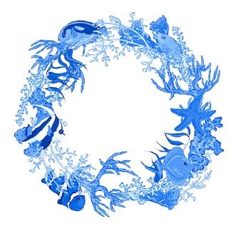 魚と海藻と青い海の生活ビンテージラウンドフレーム。