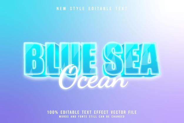Blue sea ocean editable text effect 3 dimension blue style
