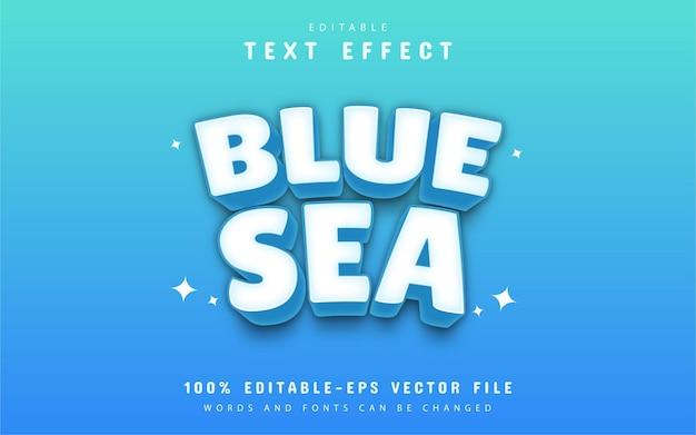 Blue sea text effect editable Premium Vector