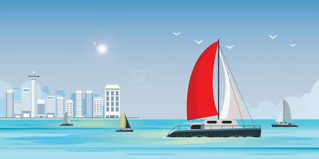 Blue sea view with luxury sailing ship yacht in the sea on city view banner