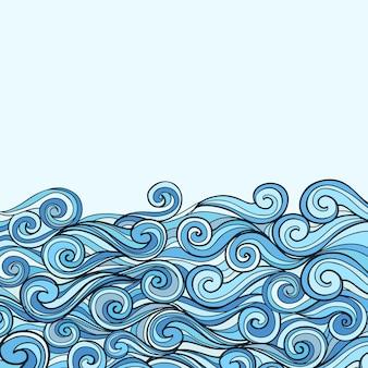 テキストの場所と青い海の波のベクトル図