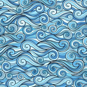Blue sea waves seamless pattern vector illustration for design