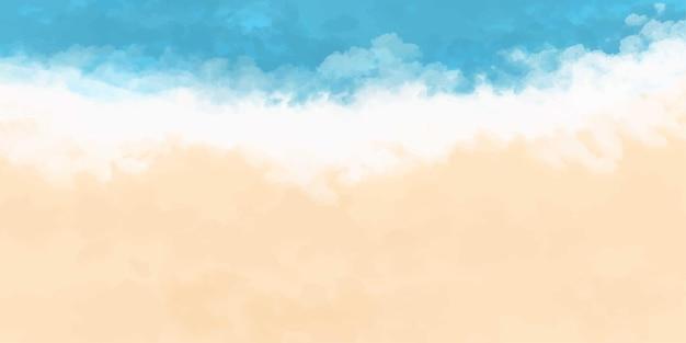 青い海黄色い砂グラデーション水彩バナー