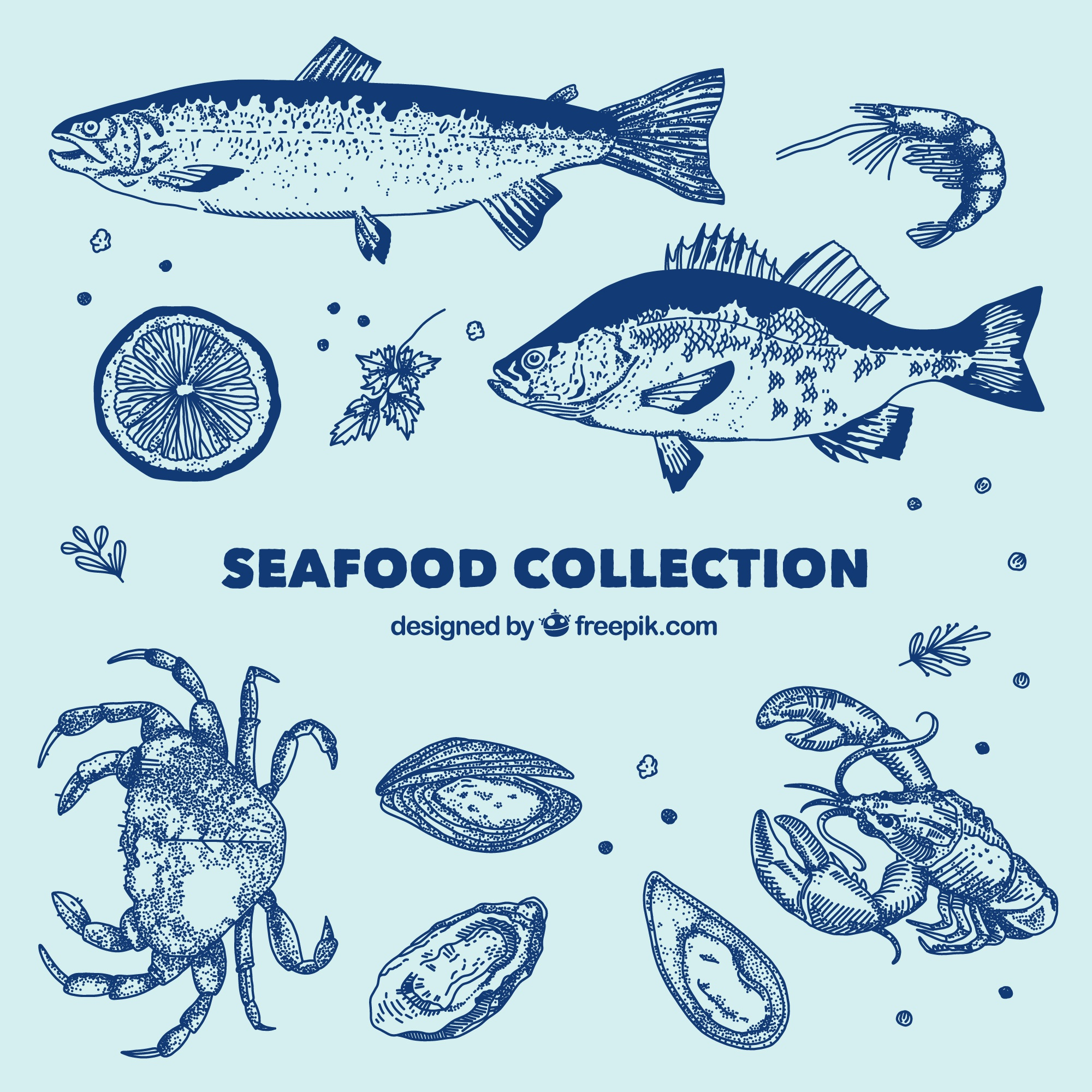 Blue seafood collection