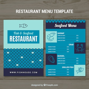 Blue seafood menu template