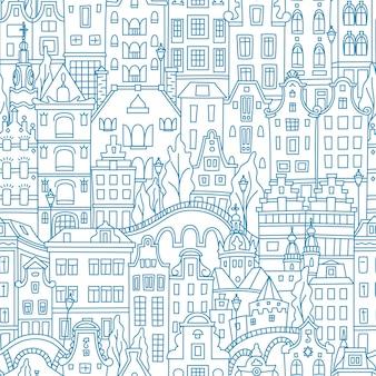 블루 원활한 패턴, 암스테르담 전형적인 네덜란드 주택