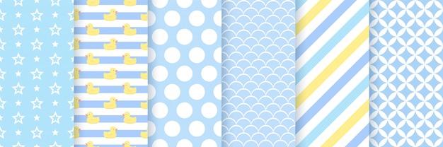 男の子のための青いシームレスパターン。図。