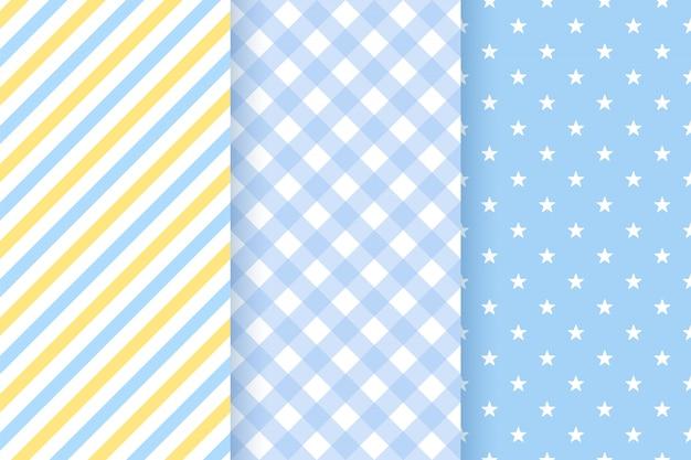 青のシームレスパターンセット