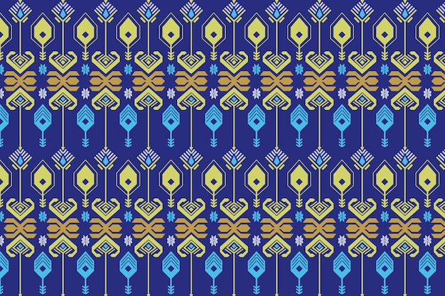 Blue seamless songket pattern template