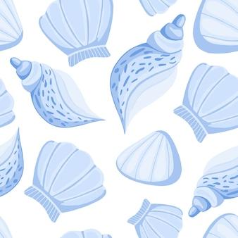 Blue seashells vector seamless pattern.