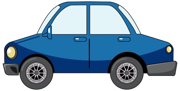Blue sedan car in cartoon style isolated on white