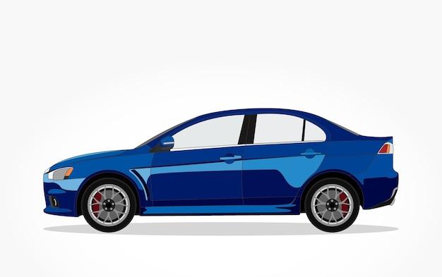 Blue sedan car cartoon with detailed side and shadow effect