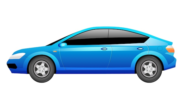 Blue sedan cartoon  illustration. generic car, transportation vehicle  color object. contemporary auto. modern personal transport, urban automobile  on white background