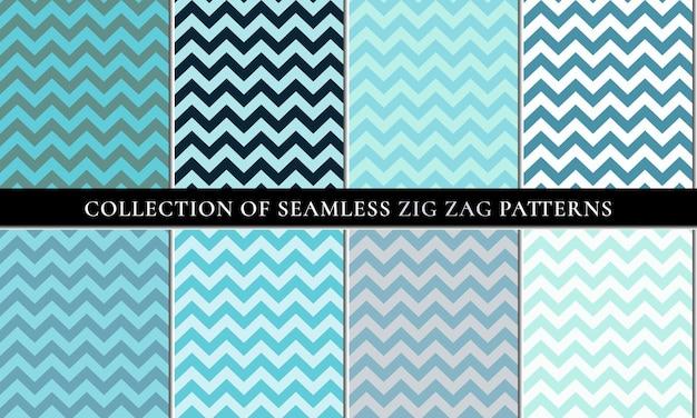 Blue set of seamless zigzag chevron pattern