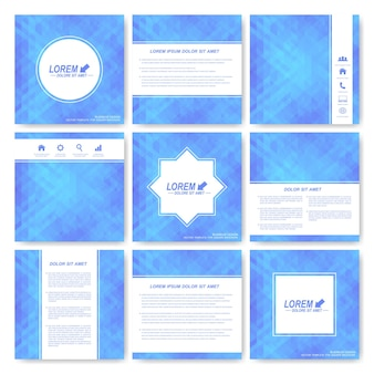 Blue set of square template brochure. business, science, medicine and technology