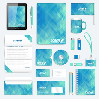 Blue set of vector corporate identity template