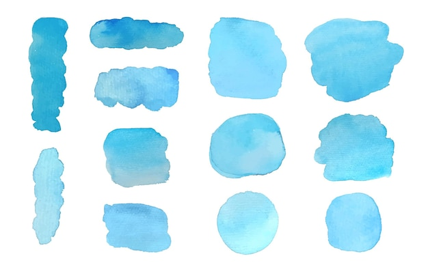 Blue set of watercolor stains