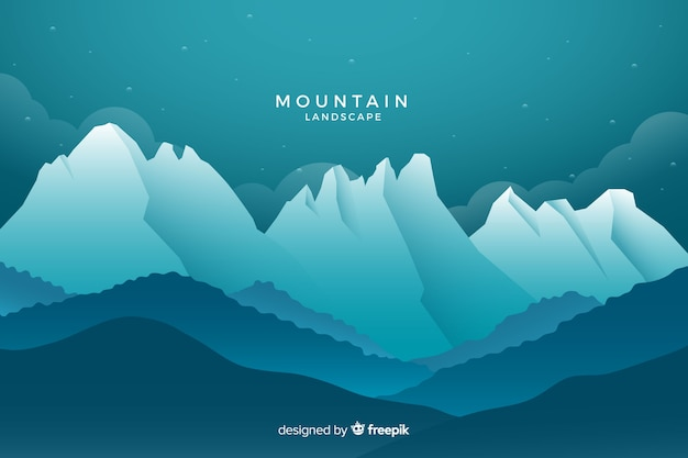 Blue shaded mountains landscape