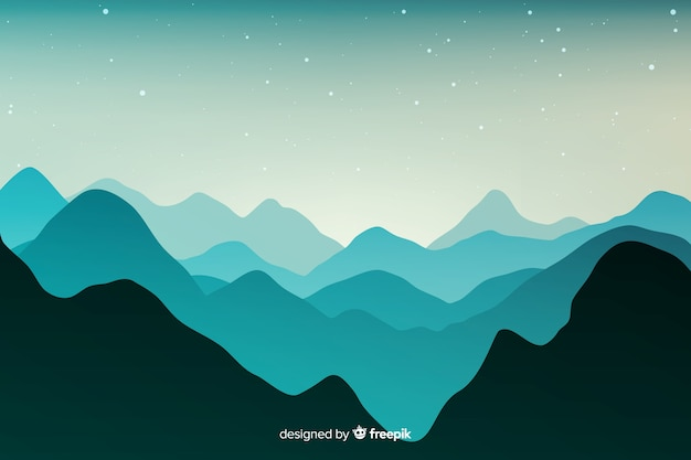 산 풍경의 푸른 그늘