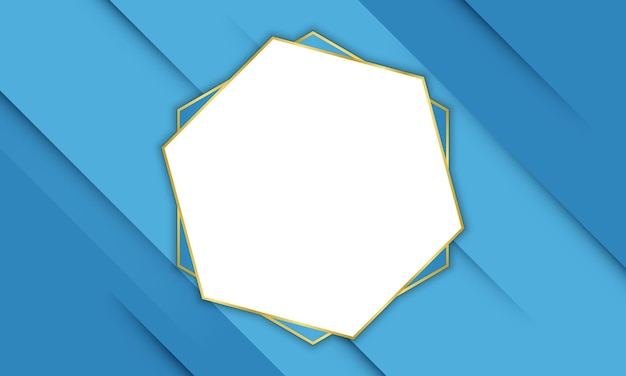 Blue shadow lines with gold hexagonal frame. pattern for your banner.