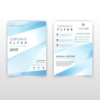Blue shape back and front corporate flyer