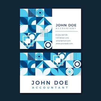 Шаблон визитной карточки с синими фигурами и эффектом мемфиса