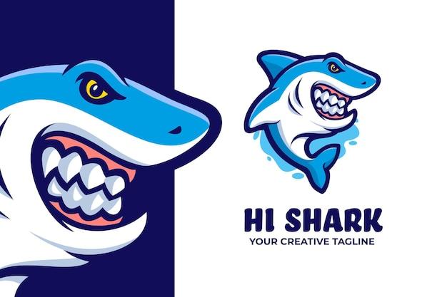 푸른 상어 마스코트 캐릭터 로고 프리미엄 벡터