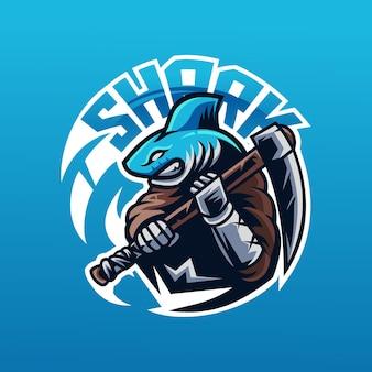 Eスポーツとスポーツチームのロゴのヨシキリザメのマスコット