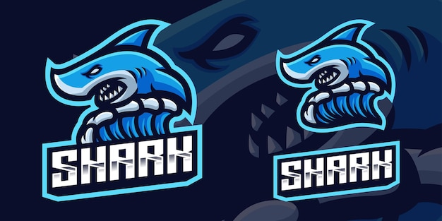Blue shark mascot gaming logo template for esports streamer facebook youtube