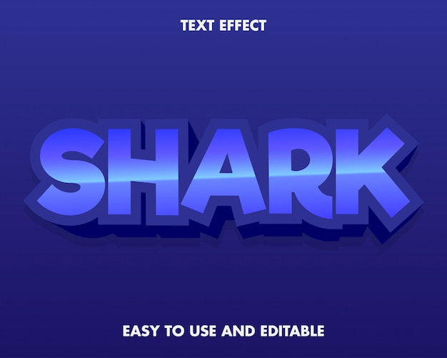 Blue shark text effect easy to use and editable.