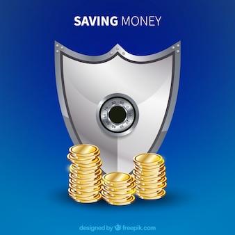 Синий фон с монетами