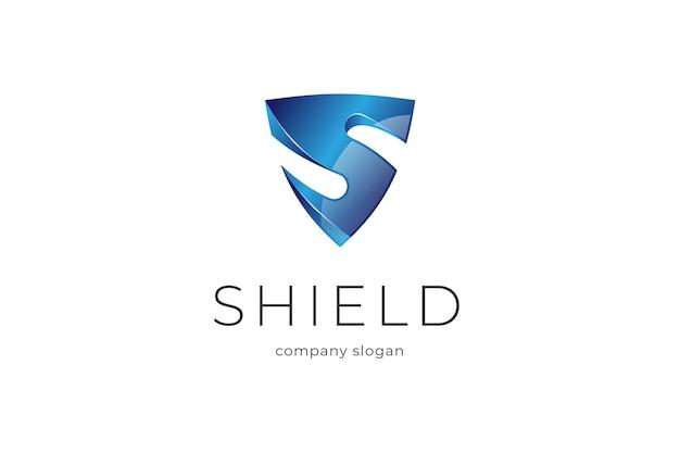 Синий щит буква s 3d логотип значок illlustration