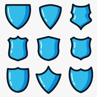 Blue shield vector icon set