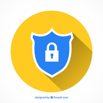 Blue shield with lock in flat design