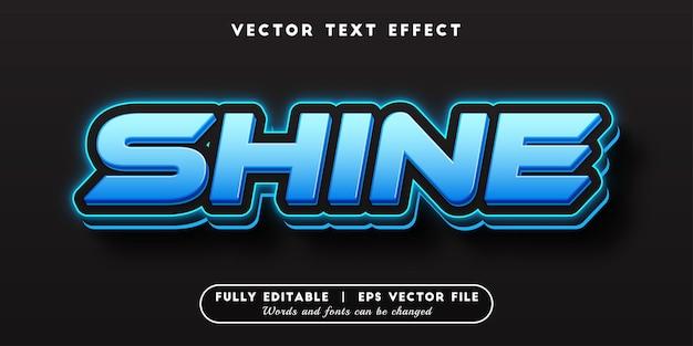 편집 가능한 텍스트 스타일이 있는 파란색 광택 텍스트 효과
