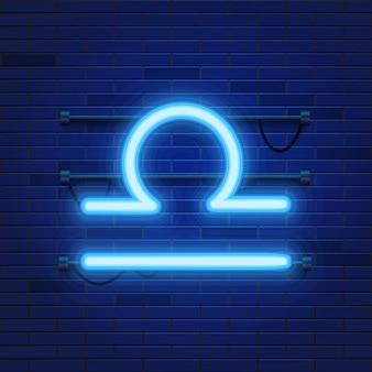 Blue shining cosmic neon zodiac libra symbol on brick wall.