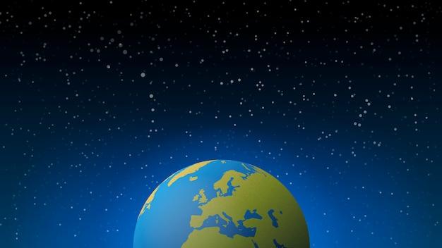 空間で青い輝くベクトル地球