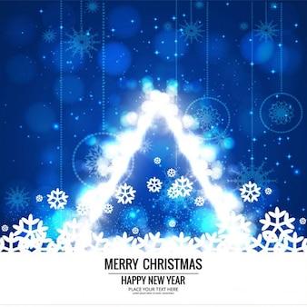 ブルー光沢のある背景、クリスマスツリー