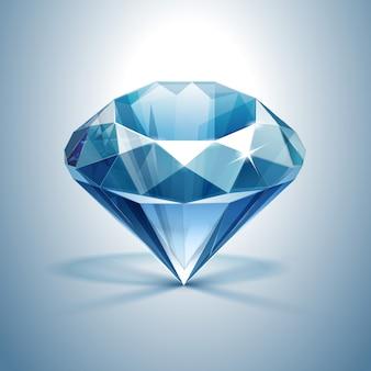 Синий блестящий прозрачный бриллиант крупным планом изолированный