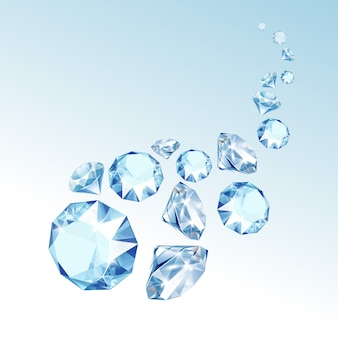 Blue shiny clear diamonds fall down close up isolated on  background