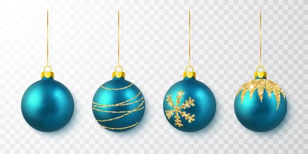Blue shiny glitter glowing christmas balls.