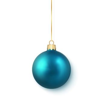 青い光沢のある輝くクリスマスボール。クリスマスのガラス玉。休日の装飾テンプレート。