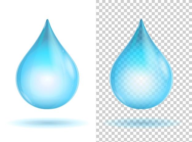 青い光沢のある透明な水滴
