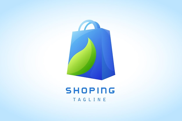 Blue shopping bag with green leaf gradient logo company