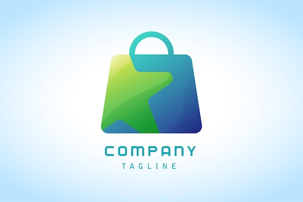 Blue shopping bag with green star gradient logo corporate