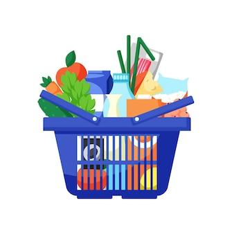 Cestino della spesa blu pieno di generi alimentari